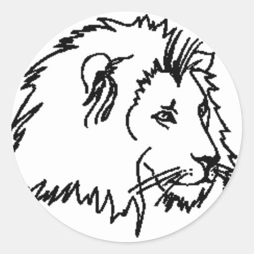 Esquema del león pegatina redonda