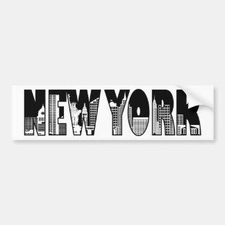Esquema del texto de Nueva York con el dibujo de l Pegatina Para Auto