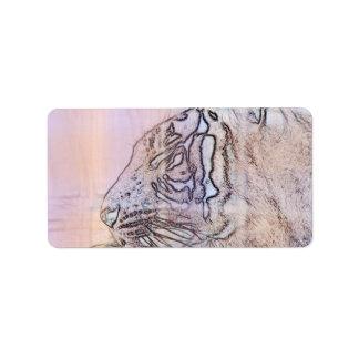 esquema del tigre con diversas líneas ligeras de etiqueta de dirección