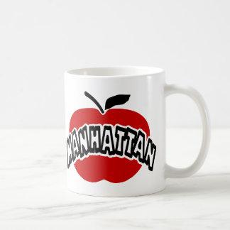Esquema enrrollado de Manhattan cortado de Apple r Taza Básica Blanca
