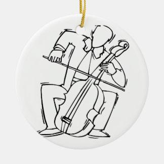 Esquema estilizado del bajista de la orquesta adorno redondo de cerámica