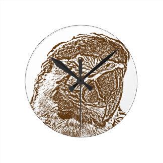 esquema marrón gráfico parrot.png de la opinión pr reloj de pared