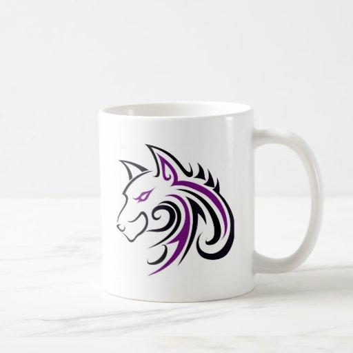 Esquema púrpura y negro de la cabeza del lobo taza clásica