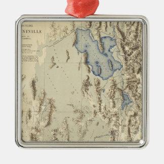 Esquema restaurado del lago Bonneville Adorno Cuadrado Plateado