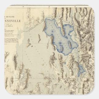 Esquema restaurado del lago Bonneville Pegatina Cuadrada