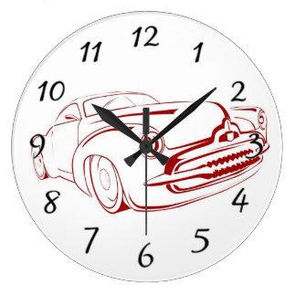 Esquema rojo del coche reloj redondo grande