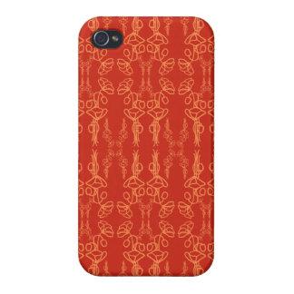 Esquema rojo elegante de la amapola, caso listo iPhone 4 cárcasas