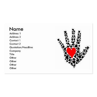 Esquema rojo y negro de la mano de los corazones tarjetas de visita