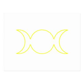 Esquema triple amarillo de la diosa tarjeta postal