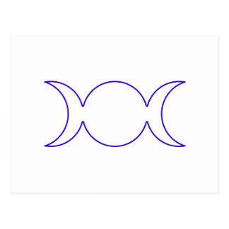 Esquema triple azul de la diosa tarjetas postales