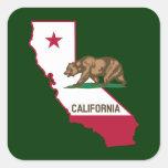 Esquema y bandera de California Calcomanía Cuadrada Personalizada