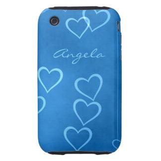 Esquemas azules del corazón iPhone 3 tough protectores