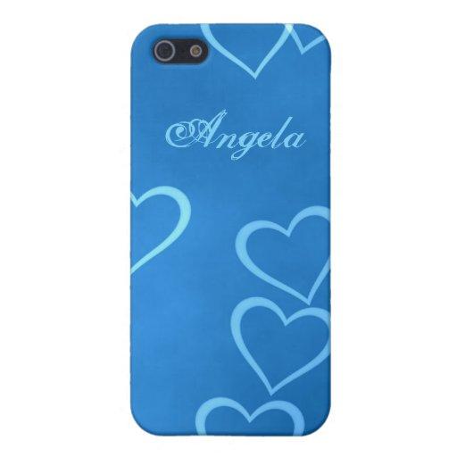 Esquemas azules del corazón iPhone 5 carcasas