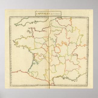 Esquemas de las capitales de Francia Póster
