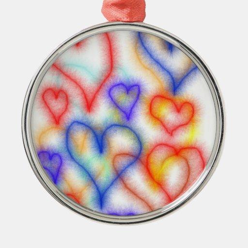 Esquemas del corazón de Fuzy, colores azules amari Ornamento De Navidad