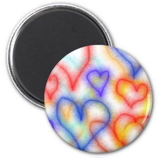 Esquemas del corazón de Fuzy, colores azules amari Imán Redondo 5 Cm