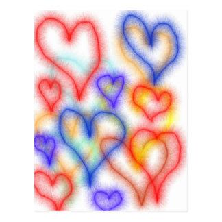 Esquemas del corazón de Fuzy, colores azules amari Tarjeta Postal