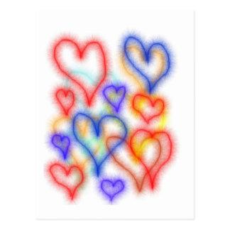 Esquemas del corazón de Fuzy, colores azules amari Postal