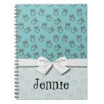 esquemas lindos del búho en azul cuaderno