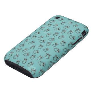 esquemas lindos del búho en azul iPhone 3 tough carcasa