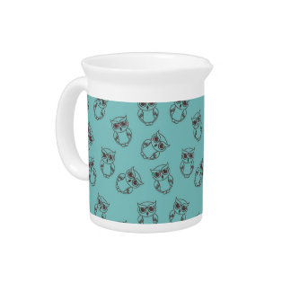 esquemas lindos del búho en azul jarras