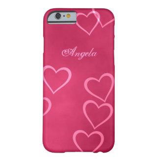 Esquemas rosados del corazón funda para iPhone 6 barely there