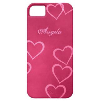 Esquemas rosados del corazón iPhone 5 fundas