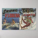 Esquí acuático en la Florida contra la nieve que e Posters
