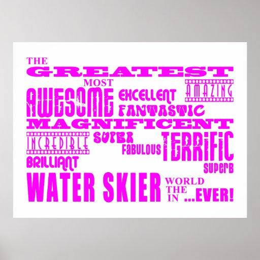 Esquí acuático: Esquiador más grande rosado del ag Posters