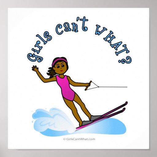 Esquí acuático para mujer oscuro poster