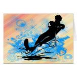Esquí acuático tarjeta de felicitación