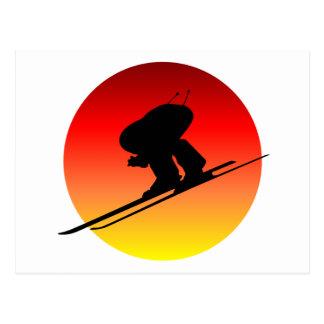 Esquí alpino de Sun Tarjetas Postales