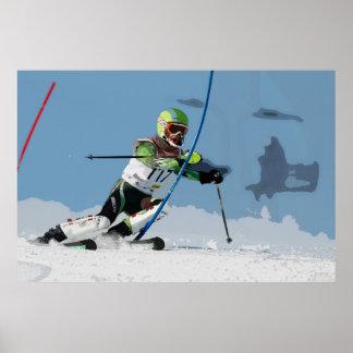 Esquí alpino que compite con el poster 2