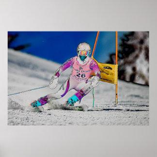 Esquí alpino que compite con el poster D1429-190
