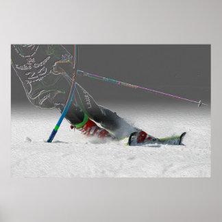 Esquí alpino que compite con - eslalom póster