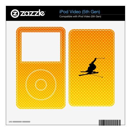Esquí amarillo-naranja de la nieve iPod video skins