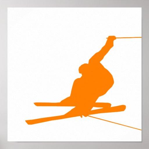 Esquí anaranjado de la nieve póster