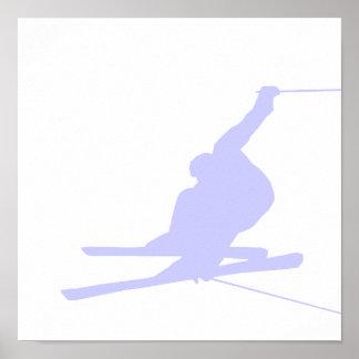 Esquí azul de la nieve de la lavanda posters