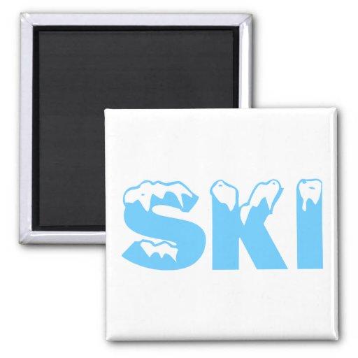 Esquí (azul) imán cuadrado