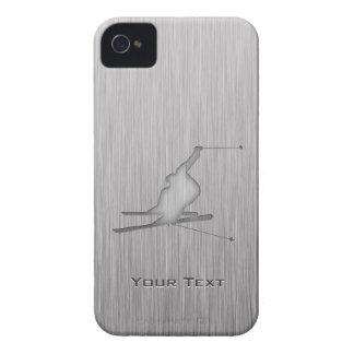 Esquí cepillado de la nieve de la Metal-mirada iPhone 4 Case-Mate Funda