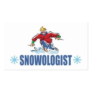 Esquí chistoso de la nieve tarjetas de visita