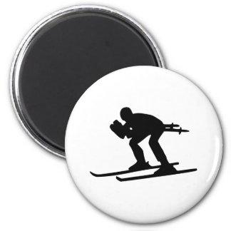 Esquí cuesta abajo imán redondo 5 cm