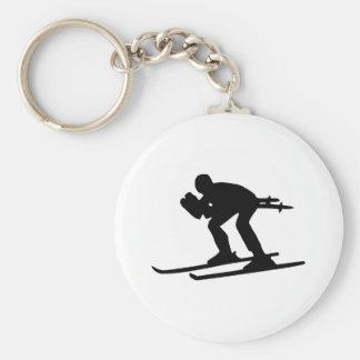 Esquí cuesta abajo llaveros personalizados