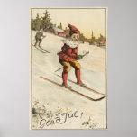 Esquí de GreetingSanta del navidad Posters