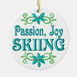 Esquí de la alegría de la pasión ornamentos de navidad