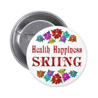 Esquí de la felicidad de la salud pin redondo de 2 pulgadas
