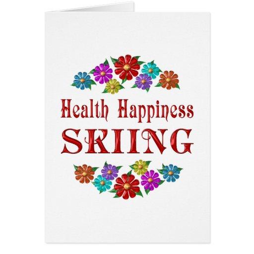 Esquí de la felicidad de la salud tarjeta de felicitación