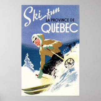 Esquí de la mujer - poster inglés y francés
