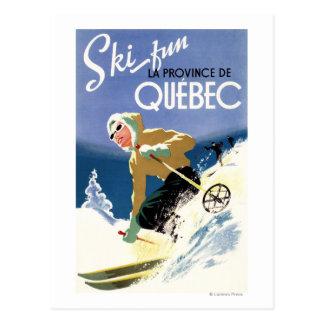 Esquí de la mujer - poster inglés y francés tarjetas postales