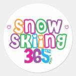 Esquí de la nieve 365 pegatinas redondas
